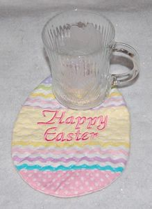 Free pattern for in the hoop Easter egg mug rug