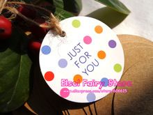 Wholesale (500pcs/lot) Dia.4cm (String Included) Colorful Dots Gift Tag, 'Just for you' Paper Gift tag,Gift Packaging Label(Hong Kong)