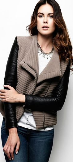 IRO Leather Sleeve Combo Jacket