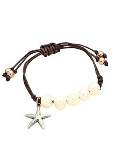 Cord Bracelet Faux Pearl and Starfish Charm