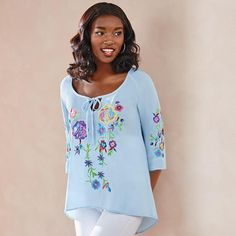 Boho-chic season is in full swing with this flower-embroidered, relaxed-fit top. \Introducing Signature Collection: Effortless style that's totally wearable. Pieces that flatter your shape and fit in comfortably with your lifestyle. That's the heart of Avon's Signature Collection. Designed by Avon. Inspired by you. Meet your new favorite label.FEATURES