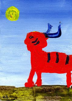 his not-a-man skin e9Art ACEO Outsider Folk Art Brut Painting Shaman Illustration