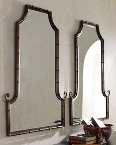 Bamboo Curl Mirror - asian - mirrors - - by Horchow Asian Mirrors, I Love Mirrors, Modern Mirrors, Vintage Mirrors, Beautiful Mirrors, Bamboo Mirror, Bamboo Wall, Faux Bamboo, Bamboo Bathroom