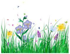 Прозрачный трава и цветы Clipart