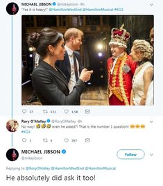 Prince Harry sang a rendition of You'll Be Back - sung by the character of King George III in Hamilton. Actor Michael Jibson, who plays the king, joked Harry had 'upstaged him' with the performance. Hamilton Broadway, Hamilton Musical, Theatre Nerds, Musical Theatre, Hamilton King George, Victoria Palace Theatre, Hamilton Lin Manuel Miranda, Meghan Markle Prince Harry, Alexander Hamilton