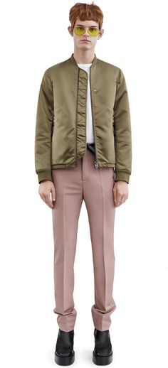 Acne Studios Selo light khaki shiny technical bomber jacket #AcneStudios #menswear #SS16