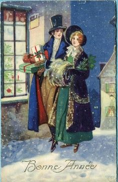 happy new year, bonne année gelukkig nieuwjaar frohes neujahr aso//Cut the printing off for a Christmas card. Holiday Images, Vintage Christmas Images, Old Fashioned Christmas, Christmas Scenes, Christmas Past, Victorian Christmas, Retro Christmas, Vintage Holiday, Christmas Pictures
