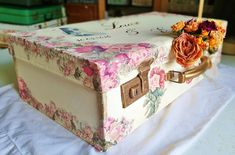 Suitcases, Handmade Home, Keepsake Boxes, Wedding Gifts, Decoupage, Decorative Boxes, Container, Home Decor, Wedding Day Gifts
