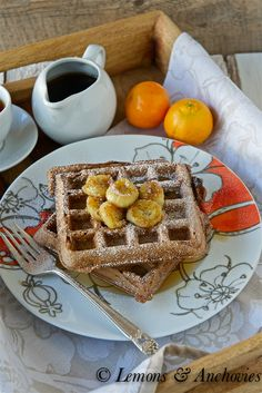 Chocolate Waffles with Caramelized Bananas
