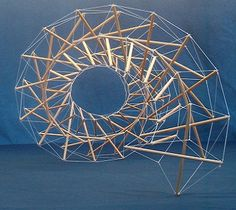 Tensegrity model example: Could be used as hanging art. Module Design, 3d Design, Abstract Sculpture, Sculpture Art, Mobile Sculpture, Contemporary Architecture, Architecture Design, Arch Model, Modelos 3d