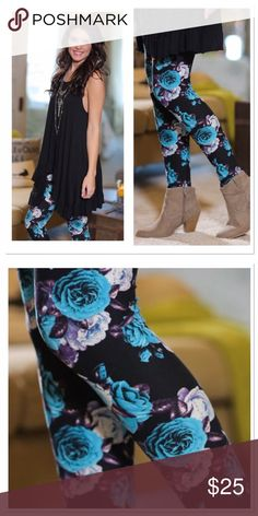 🆕 Floral print leggings OS Coming soon! Like to be notified or preorder now. Will ship Wednesday or Thursday. One size fits small-large. Soft brush knit leggings are amazingly comfortable! 92 % polyester, 8 % spandex. Softer than LuLaRoe leggings! Not sheer or see through. Pair with scoop neck ruffle tank for 50.   NOT LULAROE!! Infinity Raine Pants Leggings