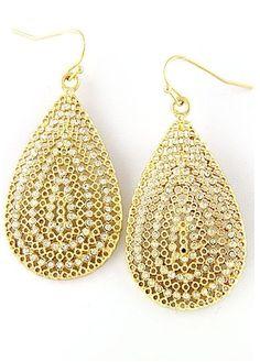 Oval Gold Tone Earrings