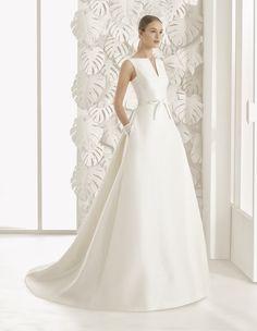 Robes de mariée sur Rosa Clará (NEON), collection rosa clará, coupe princesse, décolleté autres, long, sans manches