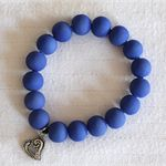 Matte finish, glass bead bracelet - Blue