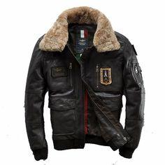 c8d9235dc0d7 Aeronautica Militare 2015 New Calfskin Slim Wool Lapel Multi-Standard Air  Force Flight Suit Men s Leather Jackets AM