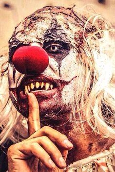 Evil SFX clown makeup idea / Pairs great with all-white contact lenses => http://www.pinterest.com/pin/350717889705763104/