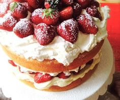Strawberry Shortcake - gorgeous three-layered classic dessert featuring sweet yellow cakes filled with cream cheese filling and macerated strawberries Fruit Recipes, Baking Recipes, Cake Recipes, Dessert Recipes, Summer Recipes, Drink Recipes, Keto Dessert Easy, Easy Desserts, Delicious Desserts