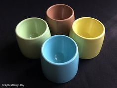 Easter / 4x Gaydon Melmex melaware melamine egg cups / 1960s Blue Cups, Egg Cups, 1960s, Easter, Breakfast, Morning Coffee