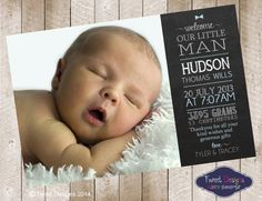 BIRTH ANNOUNCEMENT Printable Baby Boy von TweetPartyBoutique