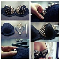Studded Bra and other DIY Fashion Hacks Diy Fashion Hacks, Fashion Tips, Fashion Ideas, Studded Bra, Old Bras, Diy Bra, Studs And Spikes, Diva Design, Do It Yourself Fashion