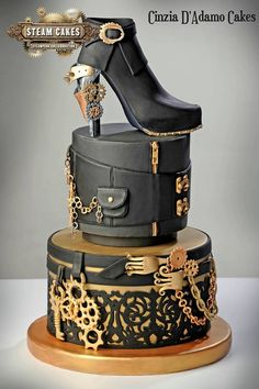 Superb Victorian Shoe and Leather Box Steampunk Cake