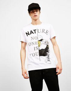 Text and design print T-shirt - T-Shirts - Bershka United Kingdom