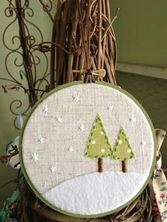 "Linen Winter Scene ""Embroidery Hoop"" Christmas Ornament - Cute snowflake stars."
