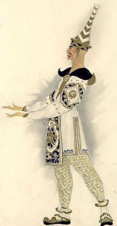 Umberto Brunelleschi (1879 -1949, Italy), 1926, Servi portanti lanterne, Costume Design for Turandot Opera by Giacomo Puccini, Teatro dell'Opera, Roma, Pencil, Tempera.