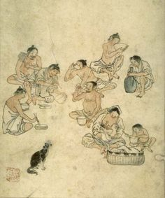 (Korea) Lunch on the Fields by Kim Hong-do. ca century CE. Korean Painting, Chinese Painting, Korean Art, Asian Art, Korean Traditional, Traditional Art, Comic Pictures, Asian History, Old Paintings