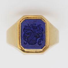 14kt lapis intaglio crest seal ring