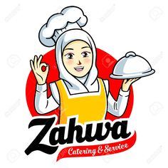 Female Muslim Chef Royalty Free Cliparts, Vectors, And Stock Illustration. Food Logo Design, Logo Food, Branding Design, Logo Character, Female Character Design, Logo Restaurant, Hijab Logo, Kitchen Logo, Kitchen Decor