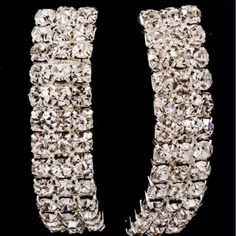 Clear Rhinestone Curved Earrings from Morties Boutique for $5.95 on Square Market