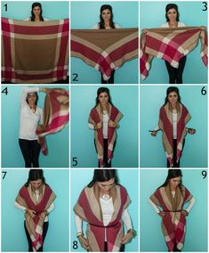 1. Start with your scarf open. 2. Fold it corner to corner into a large triangle. 3. Fold the long side down once to take some of the length off the bottom. 4. Put the long side of the triangle behind your back with the point facing down. 5. Pull the ends of the triangle over your shoulders and down in front. You want them over your shoulders a little longer than a short-sleeved shirt. 6. Grab your favorite skinny belt and put it underneath the scarf in the back but over the front.