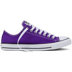 Converse Chuck Taylor All Star Fresh Colors – electric purple Sneakers (€45) ❤ liked on Polyvore featuring shoes, sneakers, converse, electric purple, converse footwear, low profile sneakers, purple sneakers, purple shoes and low profile shoes