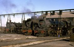 South Africa Volksrust shed. From left to right South African Railways class class 3135 & class 3352 simmer away under the efficient watering system on May 1982 See where this picture was taken. South African Railways, Steam Railway, Railroad Photography, Train Engines, Sight & Sound, Steam Locomotive, Armored Vehicles, Shed, Around The Worlds