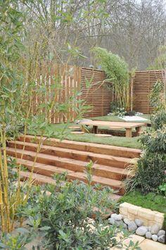 outdoor table zen garden love the seats ! Landscaping Along Fence, Backyard Landscaping, Outdoor Spaces, Outdoor Living, Outdoor Decor, Fence Design, Garden Design, Magnolia, Zen