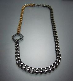 Asymmetrical Grey and Gold Necklace