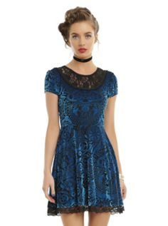 Miss Peregrine's Home For Peculiar Children Burnout Velvet DressMiss Peregrine's Home For Peculiar Children Burnout Velvet Dress, BLUE