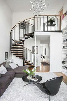 Schmale Treppe, Maisonette Wohnung, Loft Wohnung, Bootshaus, Skandinavisch  Wohnen, Wohneinrichtung, Haus Architektur, Dachgeschosse, Treppenhaus