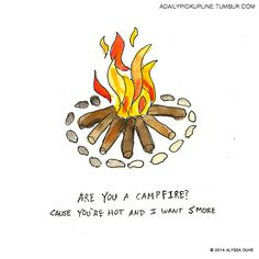 you must be a campfire, cause you're hot and i want s'more ; Cute Jokes, Cute Puns, Stupid Jokes, Dad Jokes, Chessy Pick Up Lines, Corny Pick Up Lines, Bad Pick Up Lines, Pick Up Line Memes, Cheesy Puns