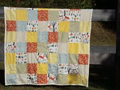 Woodland Minky Toddler Quilt (Yellow and Gray) by La Rue de Fleurs. Cute and cozy for a nature lovers nap time!