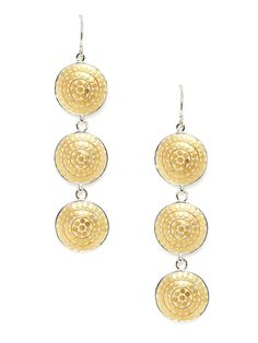 Lombok Two-Tone Divided Triple Disc Drop Earrings by Anna Beck Jewelry on Gilt.com