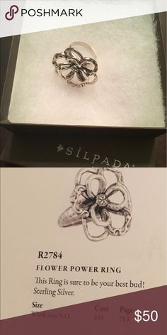 Silpada ring R2784 Table display... Sterling silver flower ring Silpada Jewelry Rings
