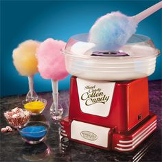 The Retro Red - Hard Candy/Sugar Free Cotton Candy Maker transforms your favorite hard candies into fluffy, melt-in-your-mouth cotton candy. For a low-calorie or low-sugar treat, sugar free candies can be used - great for kids or those with dietary restrictions. Simply plug in, turn on, pour yummy candies into the center receptacle, and start spinning colorful and tasty treats. This fanciful product is fun for the whole family and brings out the kid in everyone. $39.23