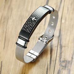 Men's Bible Verse Bracelets Stainless Steel Cross Strap Bracelet Size Adjustable Pulsera Masculina Mesh Bracelet, Bracelet Sizes, Adjustable Bracelet, Bracelet Men, Bracelets For Men, Bangle Bracelets, Cross Bracelets, Skeleton Watches, Stainless Steel Bracelet