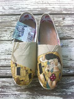 Custom Hand Painted TOMS The Kiss with a Modern by solereflections