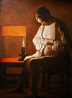 La femme à la puce (1638) de Georges De la Tour. Une jeune femme presque dénudée est assise sur un tabouret à côté d'une chaise sur laquelle est placée une chandelle. On imagine  qu'elle est en train d'écraser une puce. Le tableau est imprégné d'une magie poétique apportée par la lumière de la chandelle qui sculpte le personnage immobile