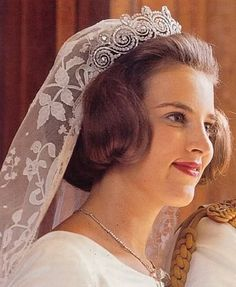 Princess Anne-Marie of Denmark became the Queen of Greece when she married her cousin (several times over), King Constantine II. Since she was a Danish royal bride and descendant of Queen Ingrid, she wore the Danish wedding tiara: the Khedive of Egypt Cartier Tiara.