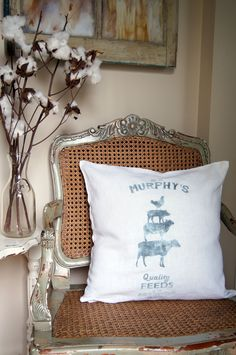 Feed sack pillow, can be customized with your family name. Linen Pillows, Custom Pillows, Throw Pillows, Living Room Throws, White Feed, Feed Sacks, Fixer Upper, Color Patterns, Modern Farmhouse