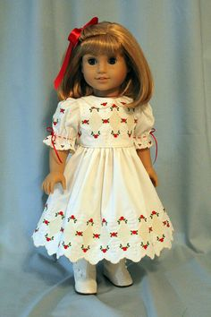 Embroidered Heirloom Dress includes wing needle motifs and bullion roses in ecru, red and green for AG Dolls by BabiesArtUs on Etsy  $125.00